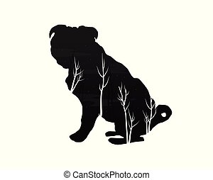 silhouette of a dog with pine forest