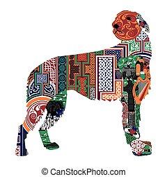 silhouette of a dog with the Irish - Irish wolfhound...