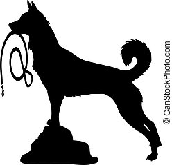 Silhouette of a Dog,holds a leash, and looks up, on a white background.