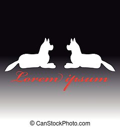 Silhouette of a dogs on dark background. Vector illustration.