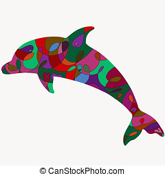 Silhouette of a dolphin with a romantic colorful pattern