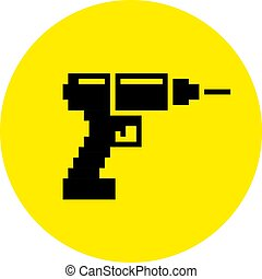 Silhouette of a drill and screwdriver flat pixel tool icon