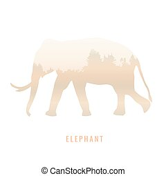 silhouette of a elephant Inside the pine forest, bright colors /animal / park / vector illustration on white background. logo, symbol