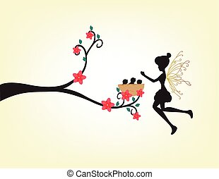 Silhouette Of A Fairy And Bird