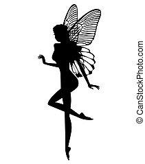 Silhouette of a fairy isolated on white background
