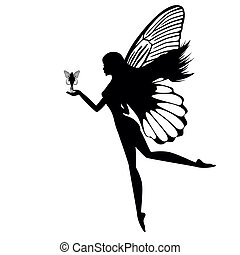 Silhouette of a fairy isolated