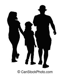 Silhouette of a family on white