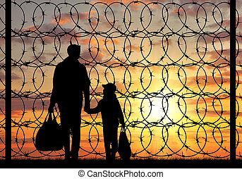 Silhouette of a family refugee - Concept of refugee. ...