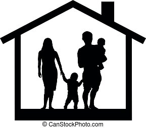 Silhouette of a family with children in the house, vector illustration