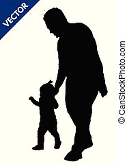 Silhouette of a father walking by the hand with her little girl
