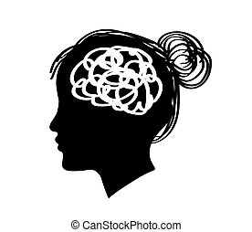Silhouette of a female head on a white background. Vector