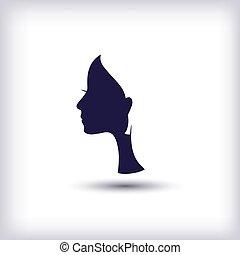 silhouette of a female head
