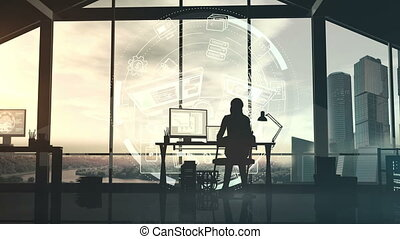 Silhouette of a female programmer in office on infographic background.
