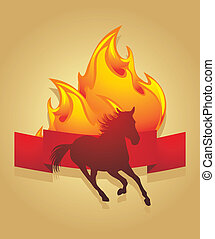 Silhouette of a fiery horse. Icon