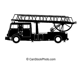 Silhouette of a fire truck. Side view. Flat vector.