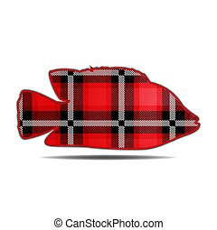 Silhouette of a fish in the style of tartan isolated on a white background