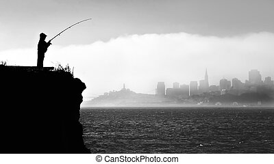 Silhouette of a fisherman in San Francisco