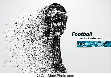 silhouette of a football helmet and hand from particles....