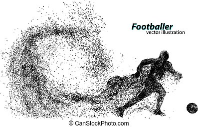 silhouette of a football player from particles. Text and...
