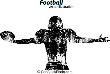 silhouette of a football player. Rugby. American footballer...