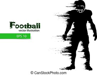 silhouette of a football player. Rugby. American footballer....