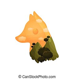 Silhouette of a fox head with a landscape inside. Vector illustration on white background.