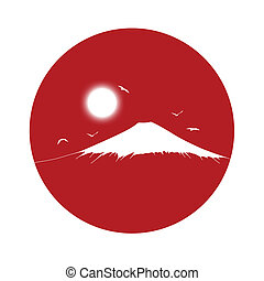 silhouette of a fuji mount on a red sun background - black...
