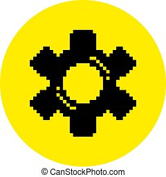 Silhouette of a gear flat pixel tool icon