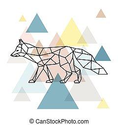 Silhouette of a geometric fox.