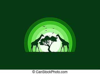 Silhouette of a giraffe on the meadow