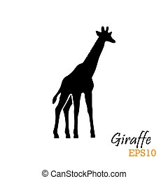 Silhouette of a giraffe. Vector illustration. Symbol, logo.