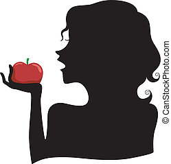 Silhouette of a Girl Eating a Red Apple