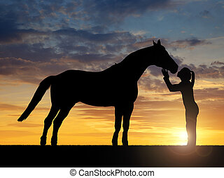 girl giving a kiss horse - Silhouette of a girl giving a ...