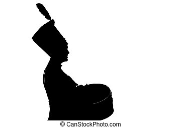 silhouette of a girl Hussar army drummer on white background