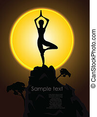 Silhouette of a girl in a yoga pose