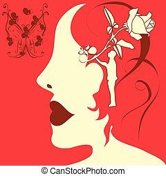 an abstract illustration of a sihouette of a girl face wearing cherry colored lip stick, with bunch of buterflyes in top left corner and one used as her hair clip and with rose, man and hair sketch in her head as a dream