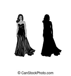 Silhouette of a girl in long dress