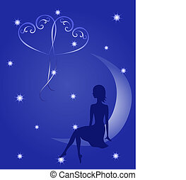 Silhouette of a girl in love