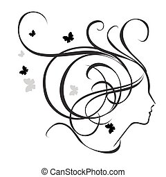 Silhouette of a girl in profile. Logo for beauty salons.