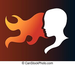 silhouette of a girl in profile with long hair