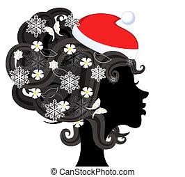 Silhouette of a girl in santa Profile