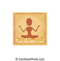Silhouette of a Girl in Yoga pose - grunge background