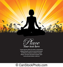Silhouette of a Girl in Yoga pose on Nature background with...