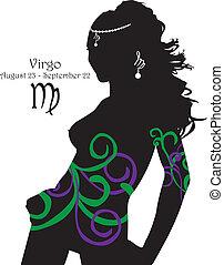 Silhouette of a girl interpretation - Stylized zodiac sign...