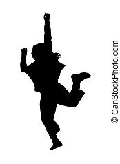 silhouette of a girl jumping