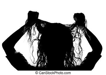 silhouette of a girl on a white background