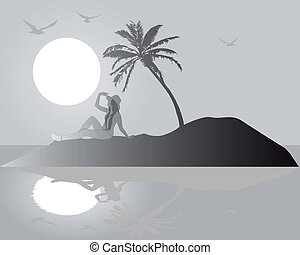 silhouette of a girl on an island