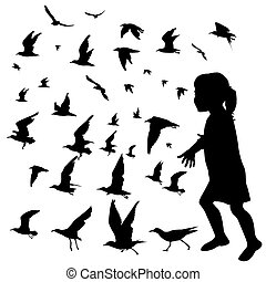 Silhouette of a girl playing with flying birds .eps