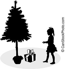 Silhouette of a girl under the Christmas tree.