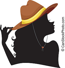 Silhouette of a Girl wearing Cowgirl Hat
